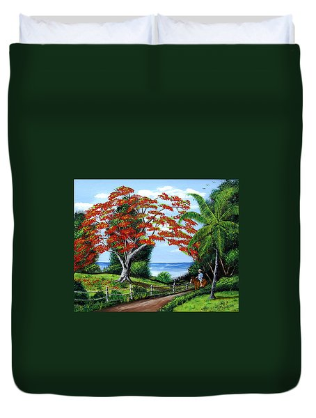 Tropical Landscape Duvet Cover by Luis F Rodriguez