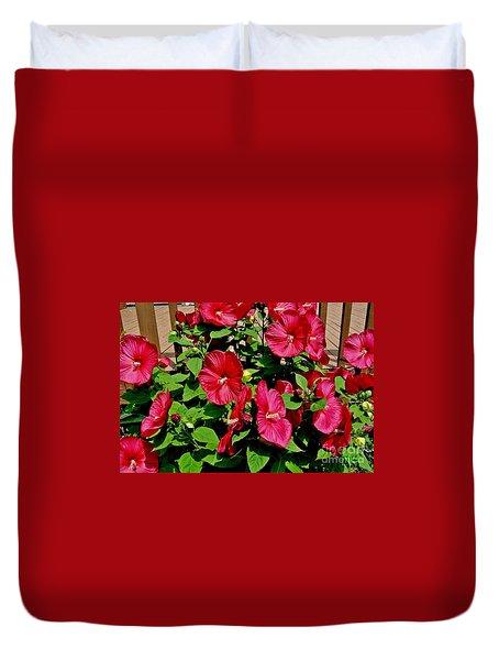 Tropical Red Hibiscus Bush Duvet Cover by Marsha Heiken