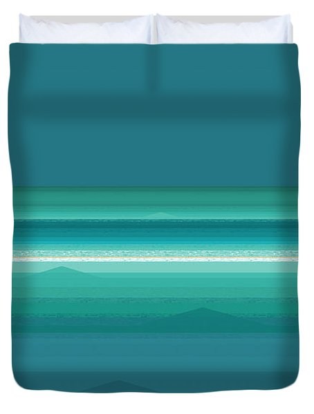 Duvet Cover featuring the digital art Tropical Sea Moonrise by Val Arie