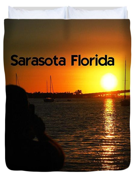 Duvet Cover featuring the photograph Tropical Sunset by Gary Wonning
