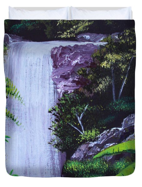 Tropical Waterfall Duvet Cover by Luis F Rodriguez
