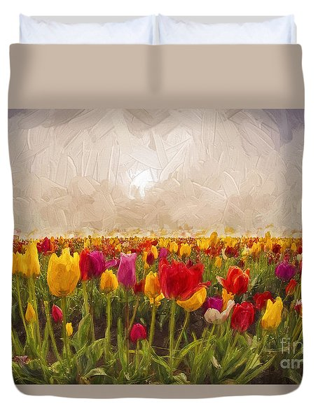 Tulip Field Duvet Cover by Billie-Jo Miller