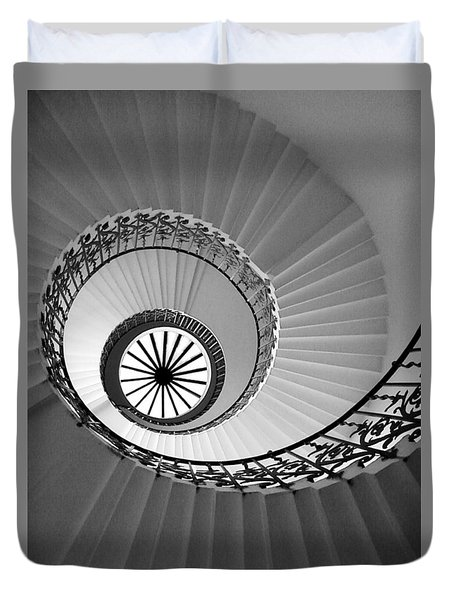 Duvet Cover featuring the digital art Tulip Staircase by Julian Perry