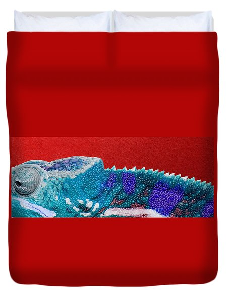 Turquoise Chameleon On Red Duvet Cover