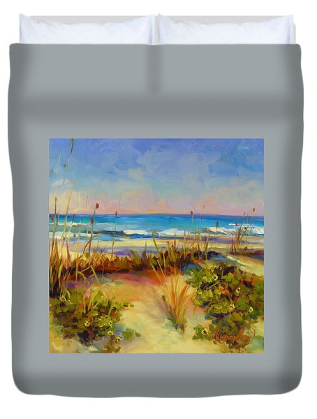 Duvet Cover featuring the painting Turquoise Tide by Chris Brandley