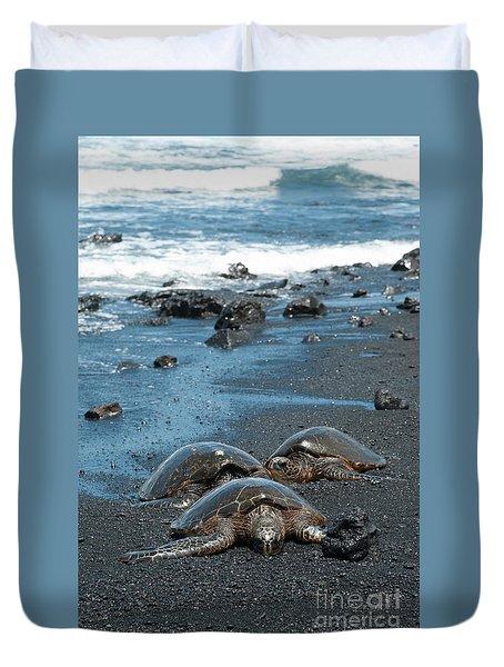 Turtles On Black Sand Beach Duvet Cover