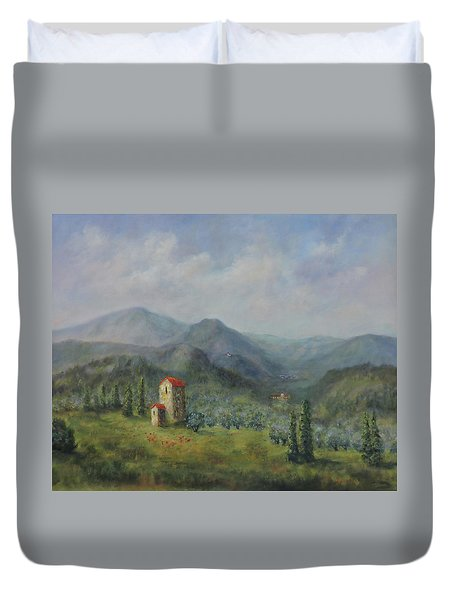 Tuscany Italy Olive Groves Duvet Cover