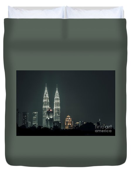 Duvet Cover featuring the photograph Twin Towers by Charuhas Images