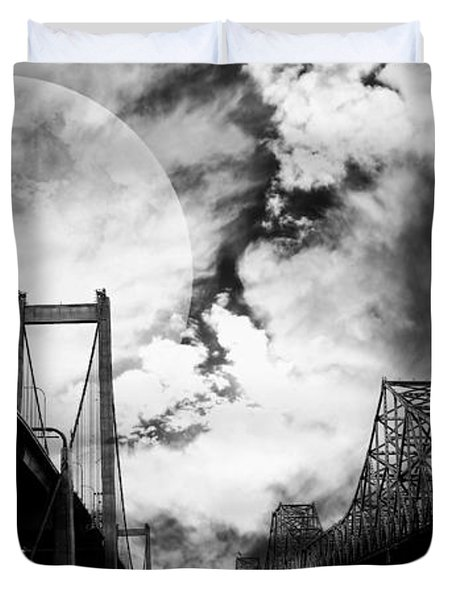 Two Bridges One Moon Duvet Cover by Wingsdomain Art and Photography