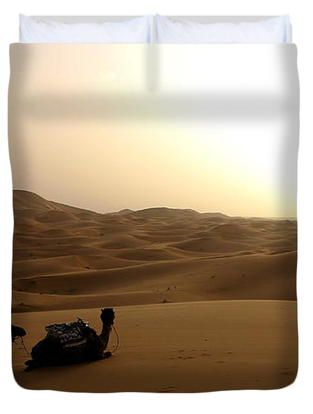 Two Camels At Sunset In The Desert Duvet Cover by Ralph A  Ledergerber-Photography