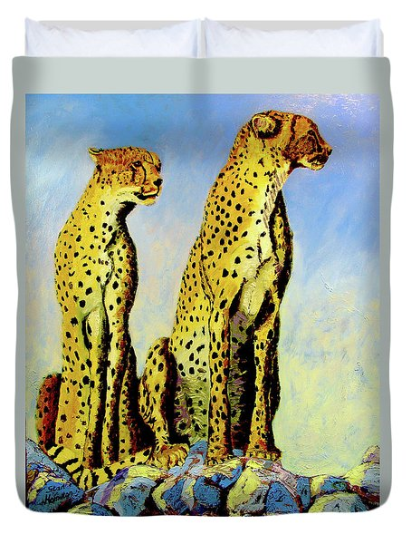 Two Cheetahs Duvet Cover by Stan Hamilton