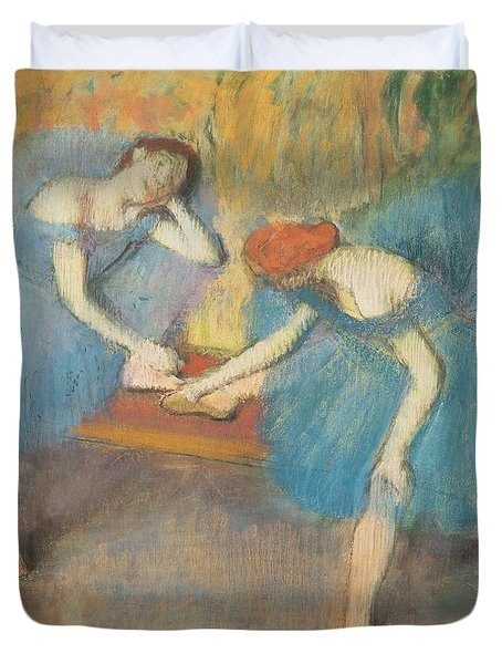 Two Dancers At Rest Duvet Cover by Edgar Degas