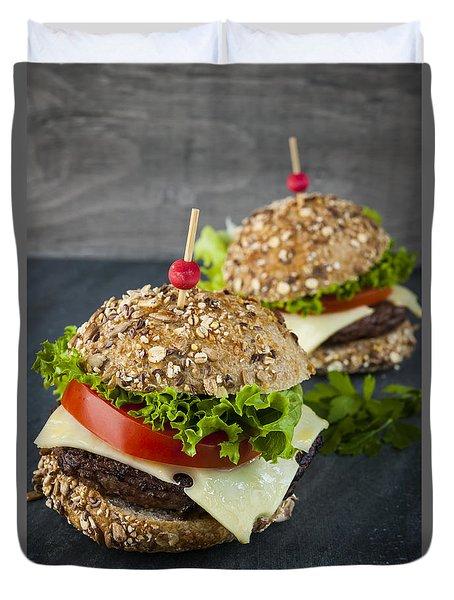 Two Gourmet Hamburgers Duvet Cover