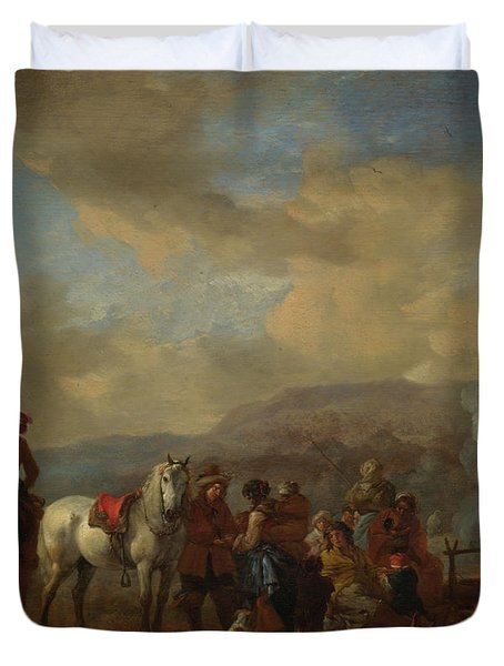 Two Horsemen At A Gipsy Encampment Duvet Cover