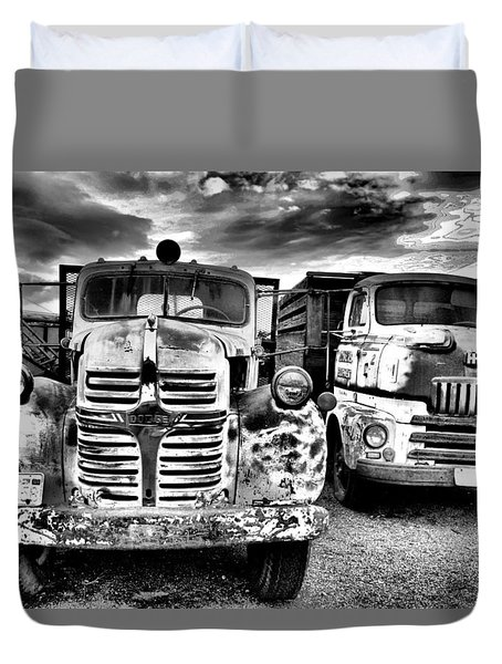 Duvet Cover featuring the photograph Two Old Beauties by Jeff Swan