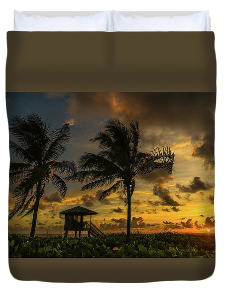 Two Palm Sunrise Delray Beach Florida Duvet Cover
