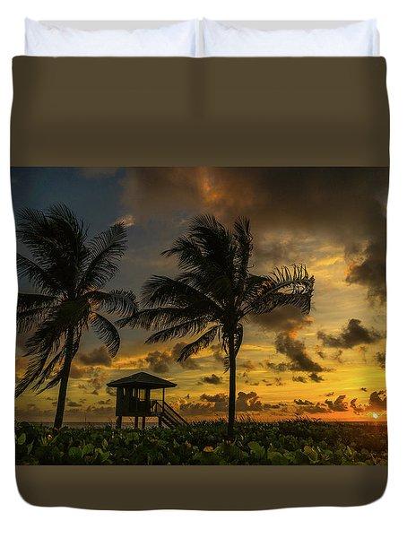 Two Palm Sunrise Delray Beach Florida Duvet Cover