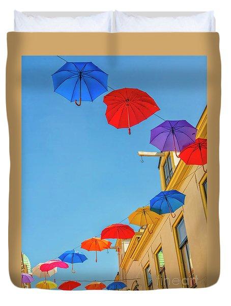 Umbrellas In The Sky Duvet Cover