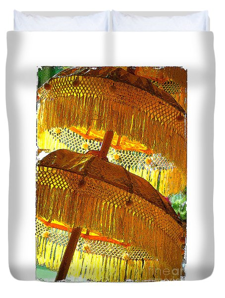 Duvet Cover featuring the photograph Umbrellas Yellow by Linda Olsen