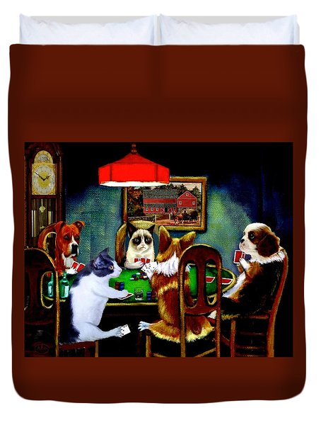 Under The Table Duvet Cover by Ron Chambers