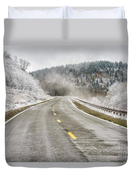 Duvet Cover featuring the photograph Unexpected Autumn Snow Highland Scenic Highway by Thomas R Fletcher