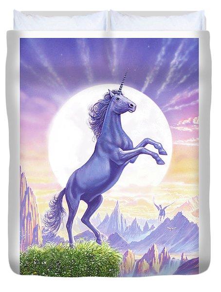 Unicorn Moon Ravens Duvet Cover by Steve Crisp