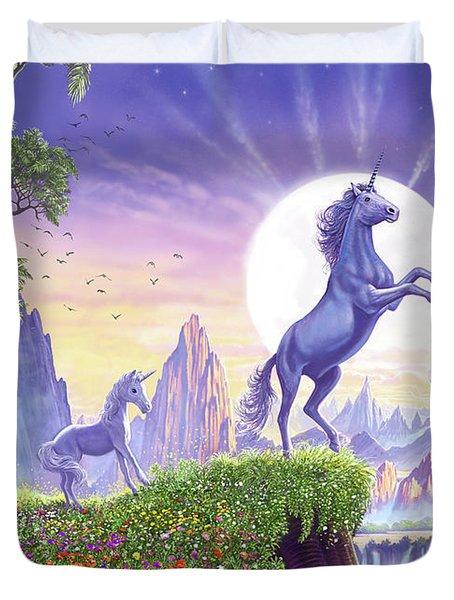 Unicorn Moon Duvet Cover by Steve Crisp