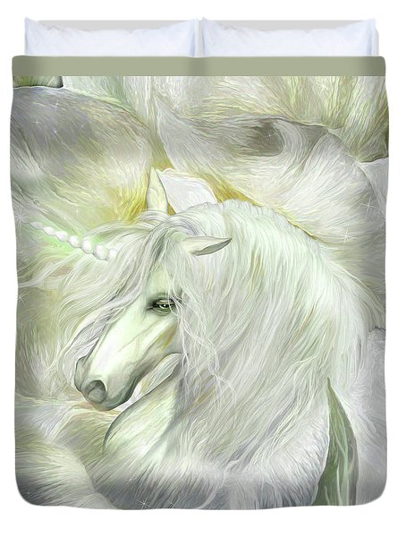 Duvet Cover featuring the mixed media Unicorn Rose by Carol Cavalaris