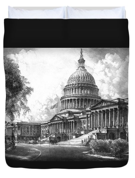 United States Capitol Building Duvet Cover by War Is Hell Store