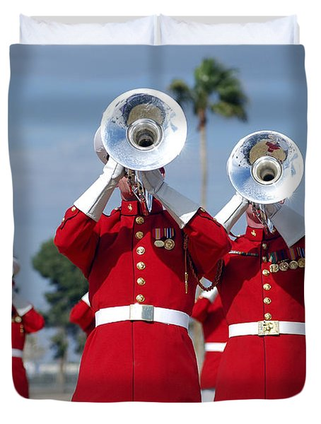 U.s. Marine Corps Drum And Bugle Corps Duvet Cover by Stocktrek Images