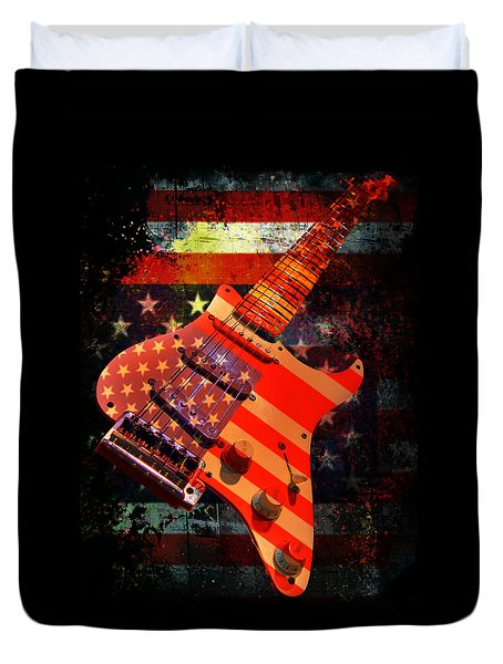 Duvet Cover featuring the photograph Usa Strat Guitar Music by Guitar Wacky