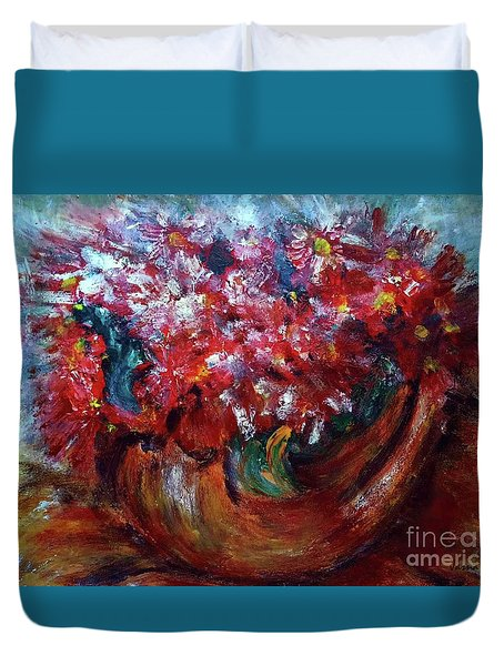 Duvet Cover featuring the painting Vase by Jasna Dragun