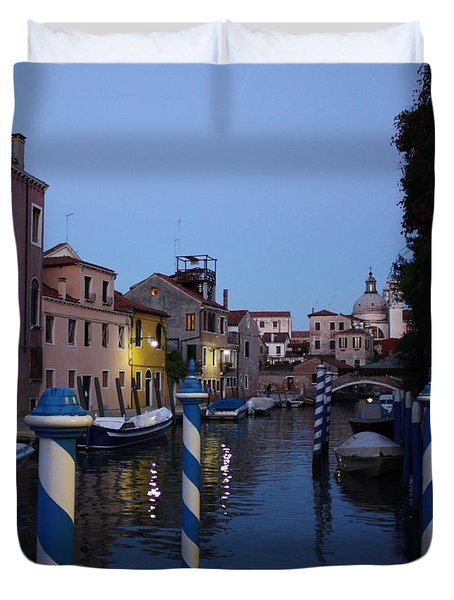 Venice At Night Duvet Cover by Pat Purdy