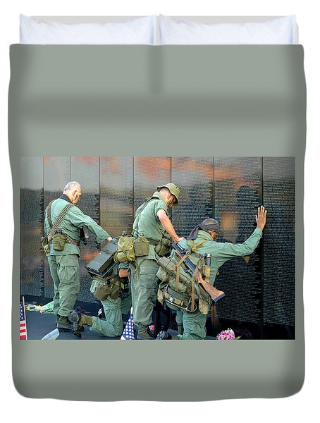 Duvet Cover featuring the photograph Veterans At Vietnam Wall by Carolyn Marshall