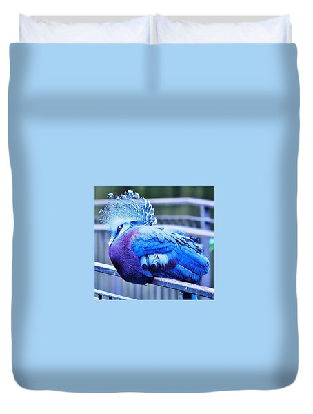 Duvet Cover featuring the photograph Victoria Crowned Pigeon by Al Fritz