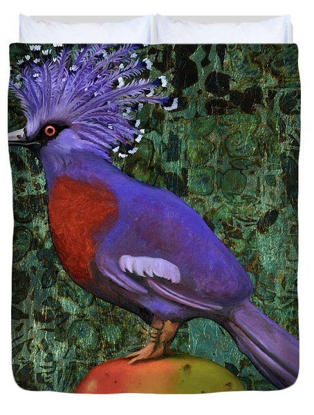 Victoria Crowned Pigeon On A Mango Duvet Cover by Leah Saulnier The Painting Maniac