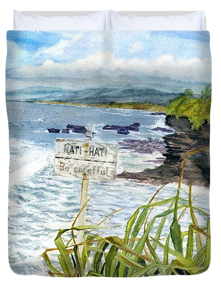 Duvet Cover featuring the painting View From Tanah Lot Bali Indonesia by Melly Terpening