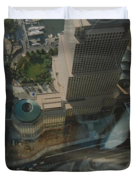 View From The W T C Duvet Cover by Rob Hans