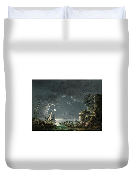 Duvet Cover featuring the painting View Of A Moonlit Mediterranean Harbor by Carlo Bonavia