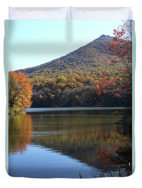 View Of Abbott Lake And Sharp Top In Autumn Duvet Cover by Emanuel Tanjala