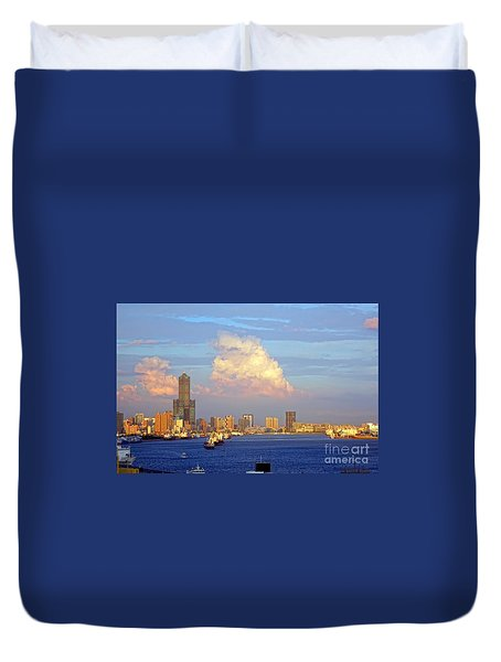 View Of Kaohsiung City At Sunset Time Duvet Cover