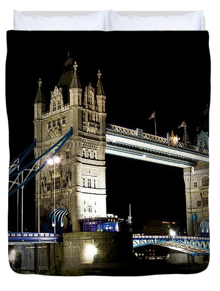 View Of The River Thames And Tower Bridge At Night Duvet Cover