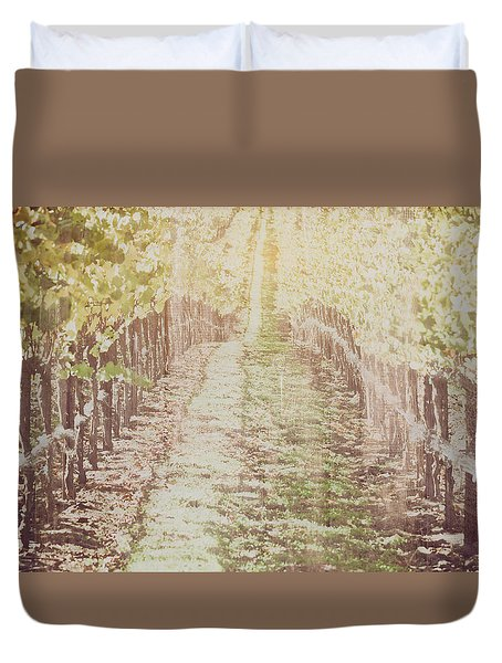 Vineyard In Autumn With Vintage Film Style Filter Duvet Cover