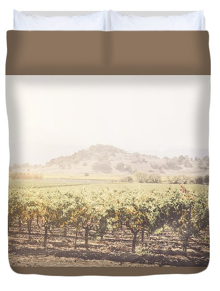 Vineyard In The Fall With Vintage Instagram Style Filter Duvet Cover