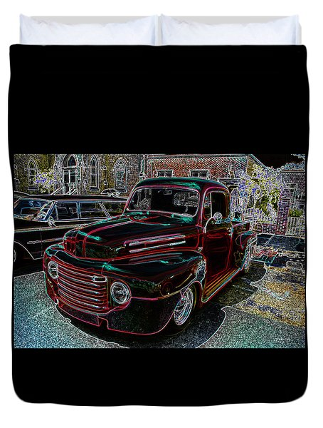 Vintage Chevy Truck Neon Art Duvet Cover