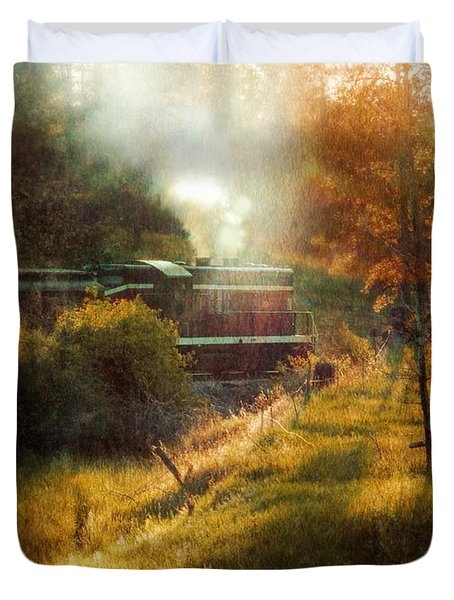 Vintage Diesel Locomotive Duvet Cover by Jill Battaglia