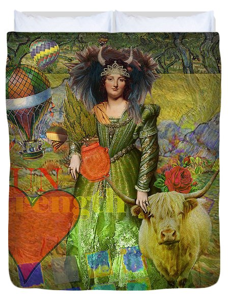 Vintage Taurus Gothic Whimsical Collage Woman Fantasy Duvet Cover