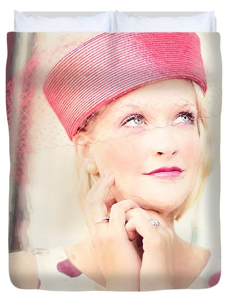Vintage Val The Coral Hat Duvet Cover