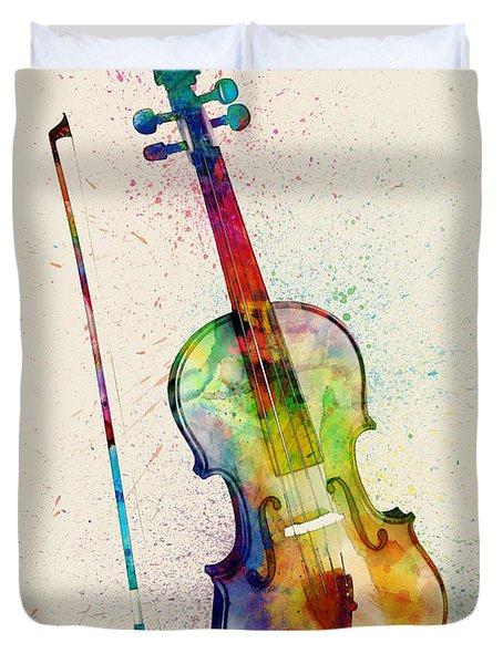 Violin Abstract Watercolor Duvet Cover