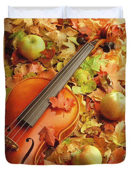 Violin With Fallen Leaves Duvet Cover